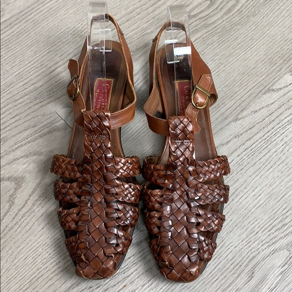 Cole Haan Shoes - Cole Haan woven brown leather ankle strap sandals